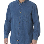 Unisex Long-Sleeve Button-Down Denim Shirt