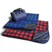 Fleece/Nylon Plaid Picnic Blanket
